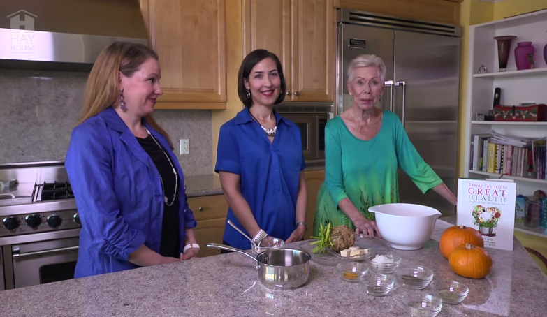 Ahlea Khadro Heather Dane and Louise Hay making celery root mashed potatoes