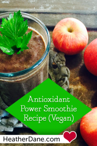 This smoothie takes advantage of top antioxidant-rich fruits (and some veggies). And you get healthy vegan fats from avocado and coconut oil.