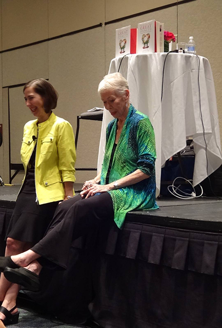 "Louise and Heather sitting on the stage in Orlando 2015. This was right before Heather spoke at the Hay House I Can Do It on Loving Yourself to Great Health. Just before Louise opened for Heather, without any rehearsal, they began singing the 1938 song, ""Two Sleepy People"" which got people coming into the room, laughing, and singing along."