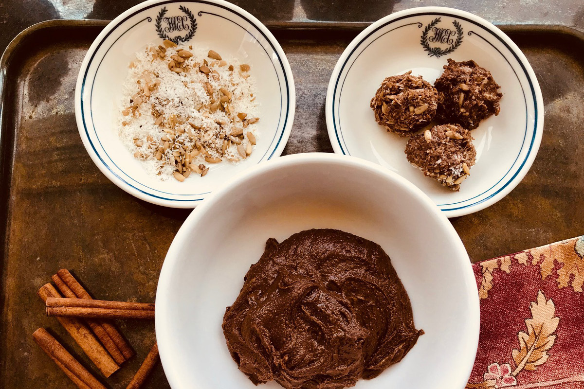 After being addicted to sugar and flour I learned to go back to ancestral foods. This recipe for Sunflower Seed Balls and Fudge is designed to bring balance
