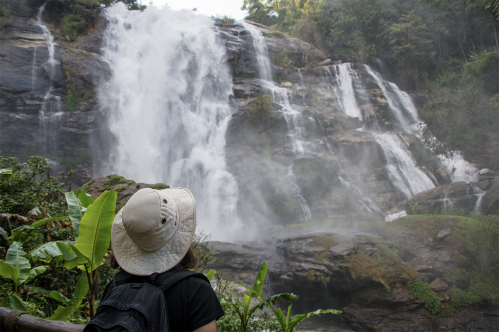 Heather takes in the beauty and energy of Wachirathan Waterfall.