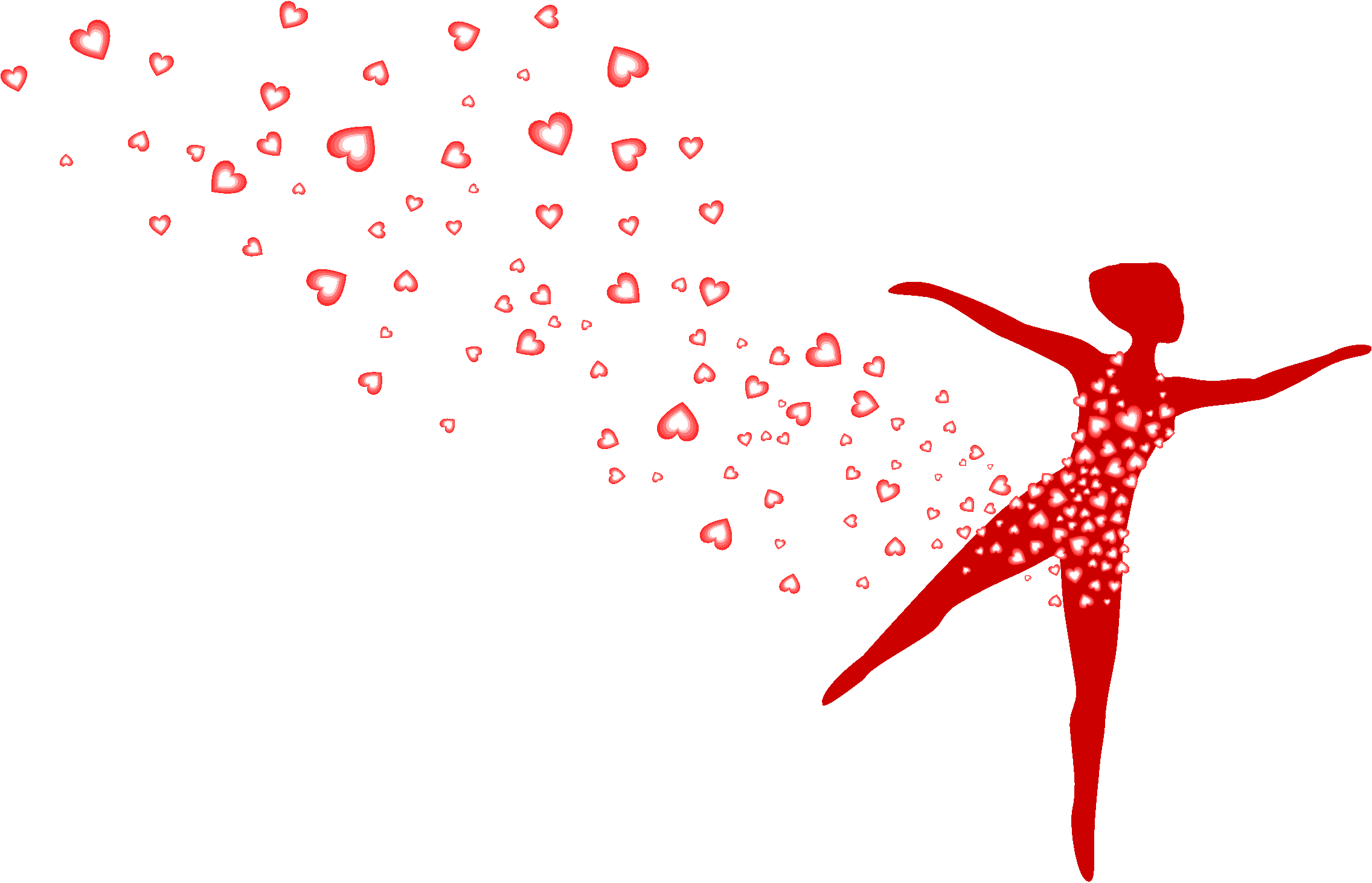 woman dancing with red hearts