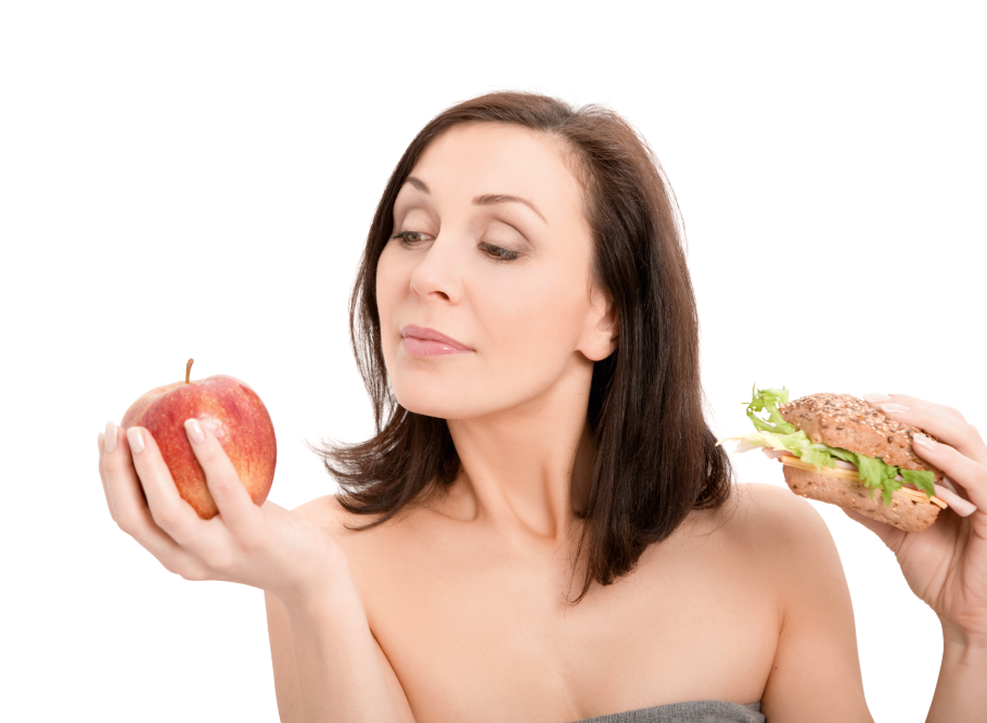 Woman Choosing Apple over Sandwich